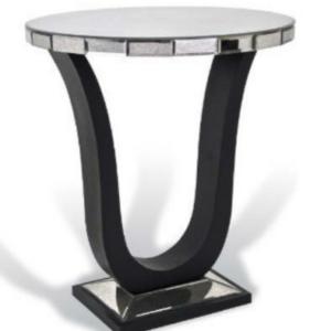 Lingau Black Mirrored Wine Table